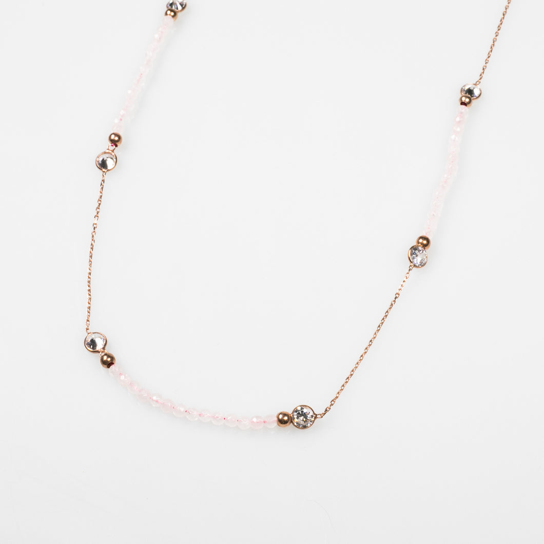 Diamond By-The-Metre Necklace with pink Semi-Precious Stone