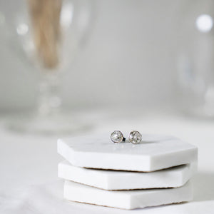 small delicate silver stud earrings