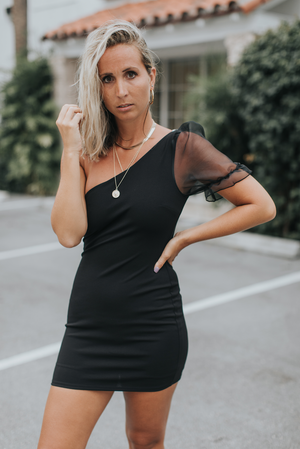 Black Organza One Sleeve Dress