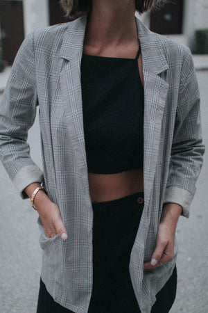 Plaid Extra Long Blazer