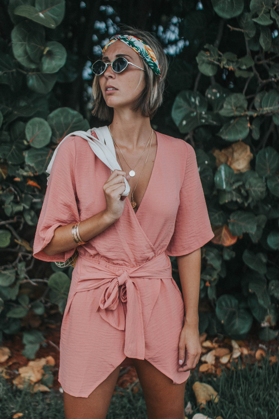 Pink Wrap Up Romper