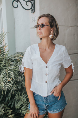 Button-Down Peplum Top