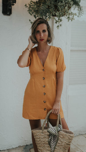 Mustard Button Down Dress
