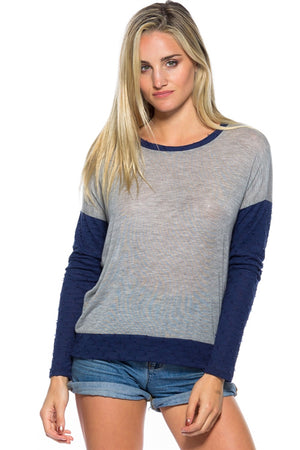 SF GREY RED DISTRESS DETAILING TOP