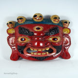 Unique simple Red hindu lord bhairav online cheap price ritual wall hanging mask.