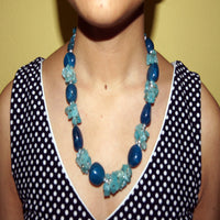 Lapis stone flower necklace