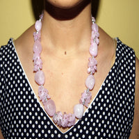 Rose quartz stone flower necklace
