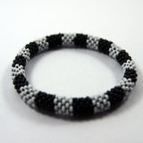 Cheap price silver stripped roll on fashionable fair trade and authentic bracelet handmade in nepal.
