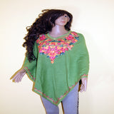 pasmina top green flowers embroidered