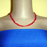 Oval red coral necklace