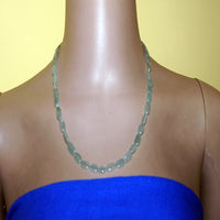 Oval aqua blue agate necklace