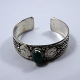 Green jade drop carved bracelet
