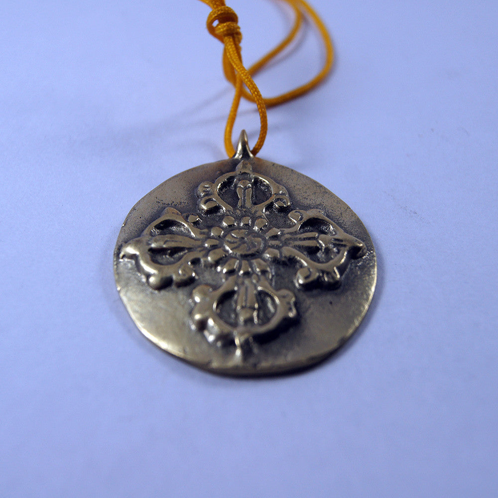 Lucky charms brass double dorjee inscribed  Tibetan beautiful buddhist prayer pendent items online.