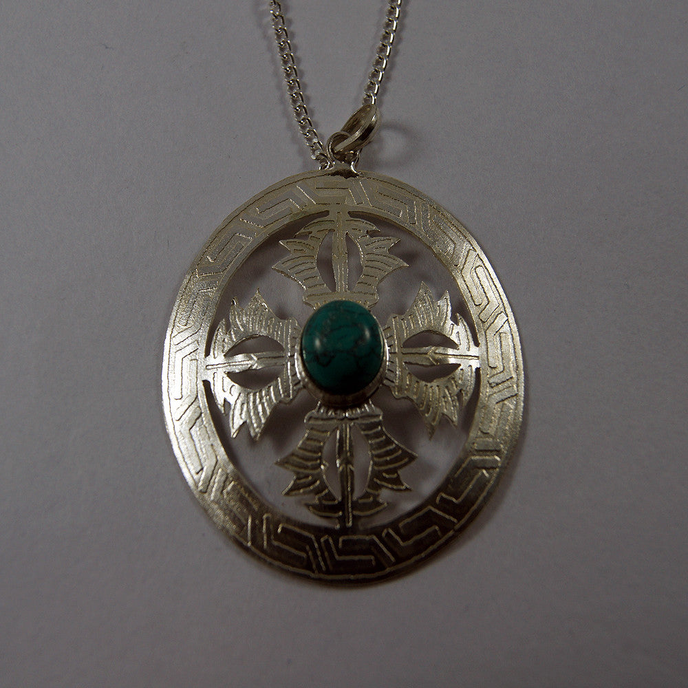Ethic Tibetan buddhist antique double dorje turquoise good powerful pendent luck charms products.