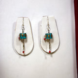 Buddhist turquoise prayer wheel buddha earring himalayan glamorious unique funky buddha jwellery.
