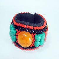 3 amber eyed multi gemstone bracelet