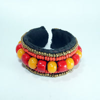 Amber & Coral gemstone crotcheted bracelet