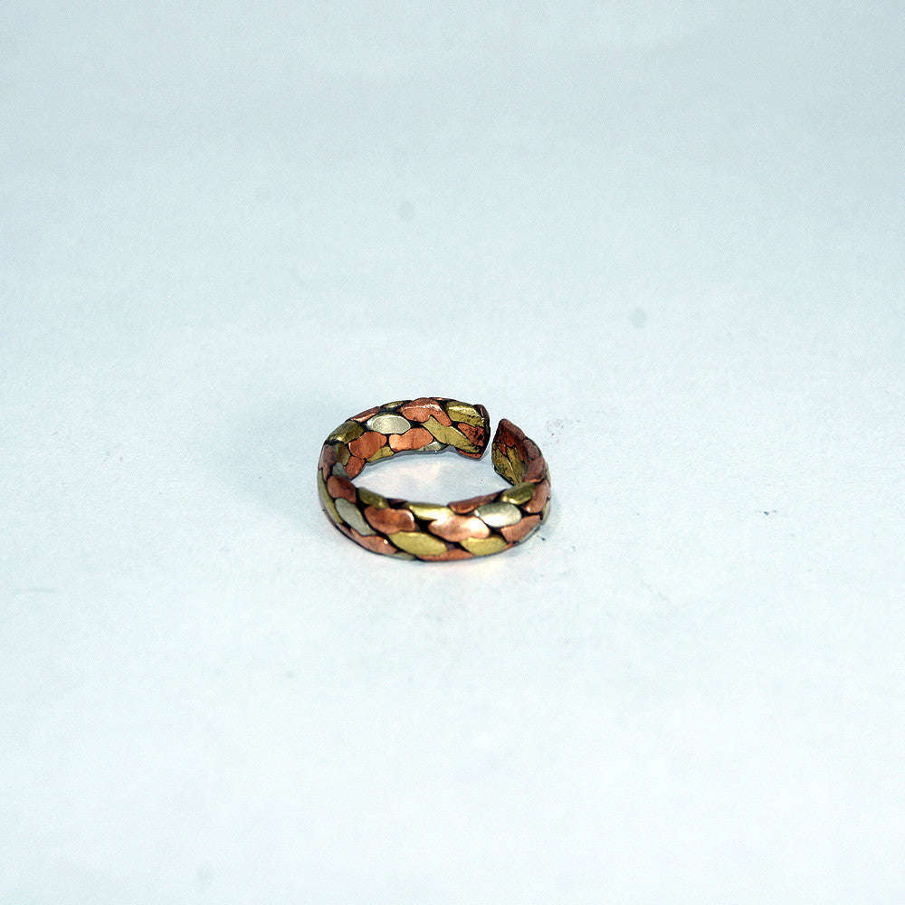Copper & brass knot ring