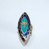 Authentic Buddha eyes turquoise & lapis gemstone antique buddhist fine ring jwellery online sale.