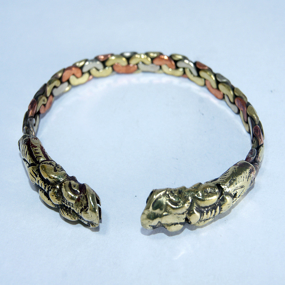 Copper & brass dragon knot bracelet