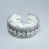 Trendy Tibetan Silver Dorjee cuff inscribed cheap price artisan designer fashion bracelet.