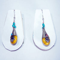Amber raisin wrapped tear drop earring