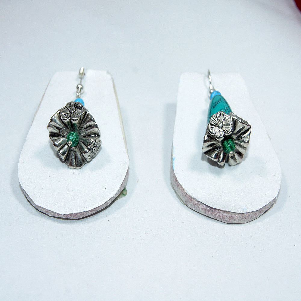 sterling silver flower drop earring