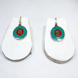Round turquoise and coral earring