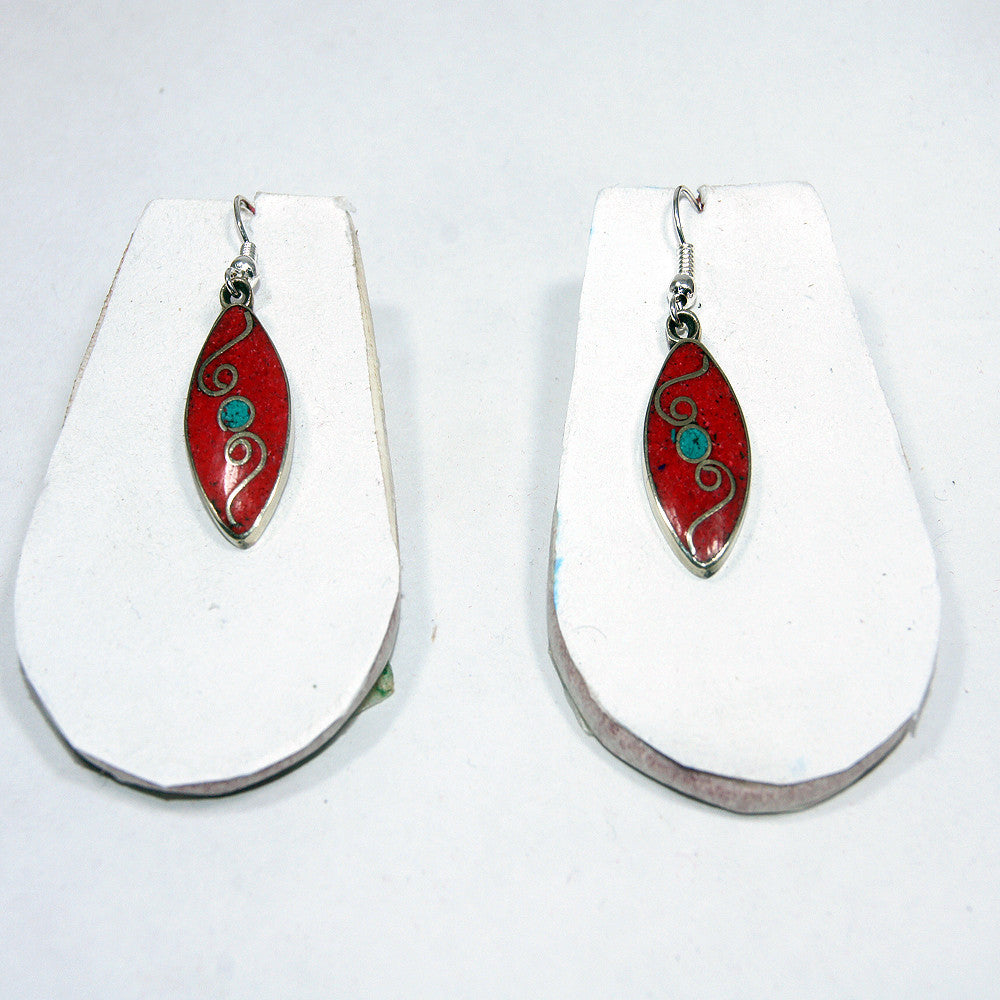 interconnection coral leaf drop earring
