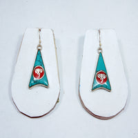 Tibetan artisan himalayan Buddha eyes t top of the world design buddhist turquoise funky fashion earring.