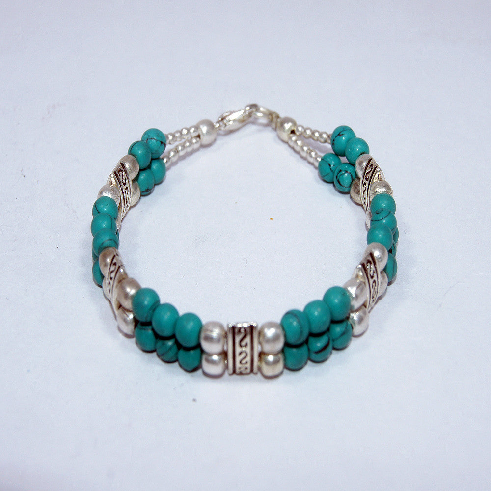 turquoise silver plated beads bracelet