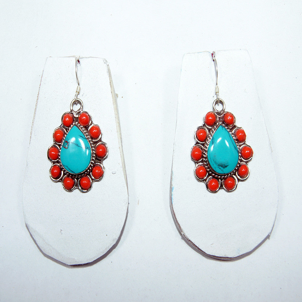 Turquoise and coral sunflower earring