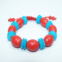 Authentic fair trade Oval coral wrist mala cheap price with chakra spacers handmade in nepal.