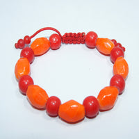 Fashionable authentic cheap price Orange and red wrist mala fair trade handmade jwellery.