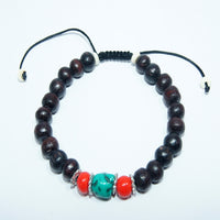 Handmade authentic cheap price fashionable Coral Turquoise rosewood fair trade wrist mala.
