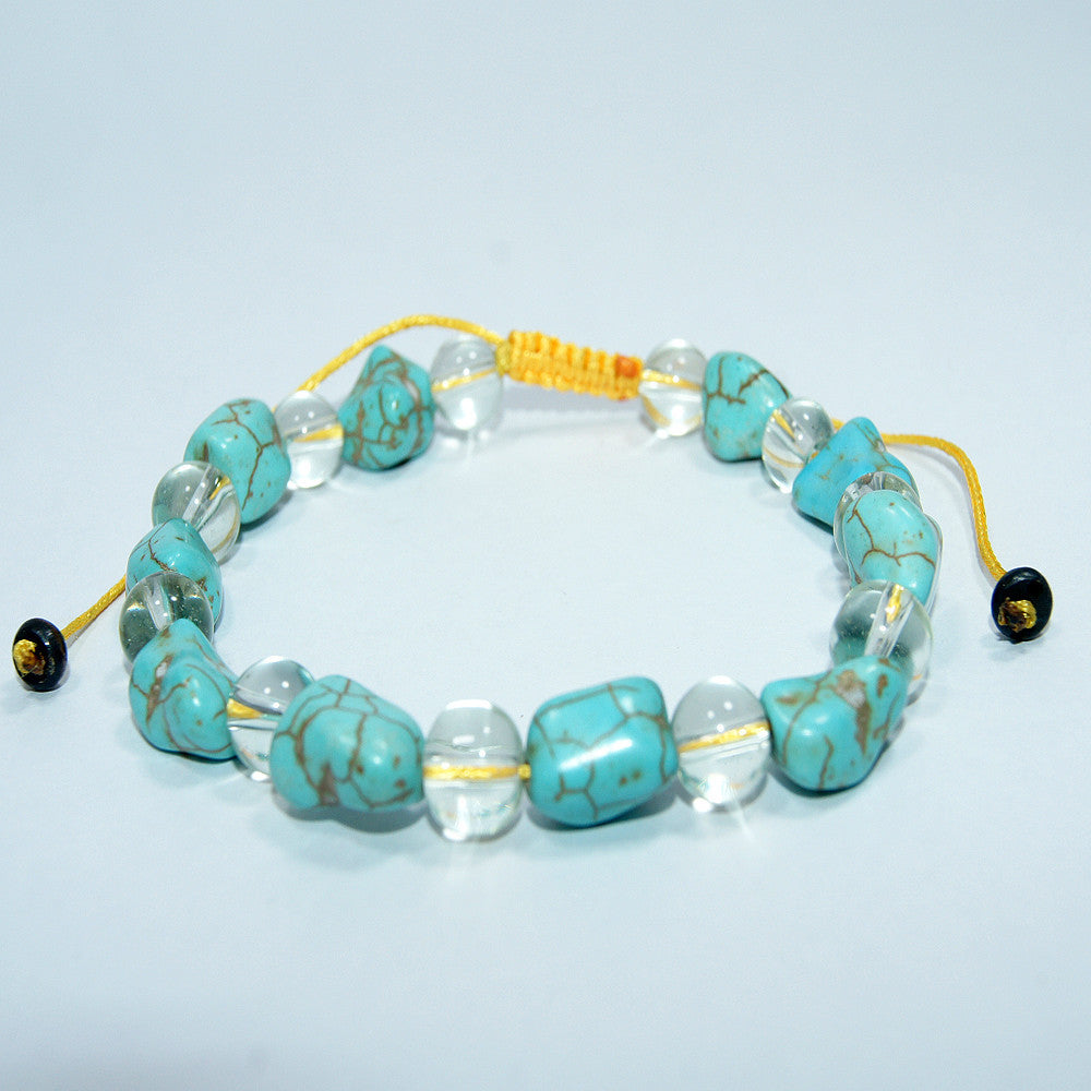 Fashionable handmade authentic cheap price Turquoise Sphatik crystal wrist mala fair trade jwellery.