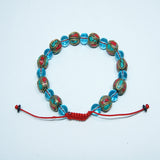 Clear blue quartz & Tibetan round bead fair trade wrist mala jwellery cheap price handmade in nepal.