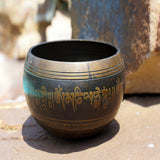 Tibetan Spritual resonance singing meditation prayer mantra inscribed bowl for wholesale price.
