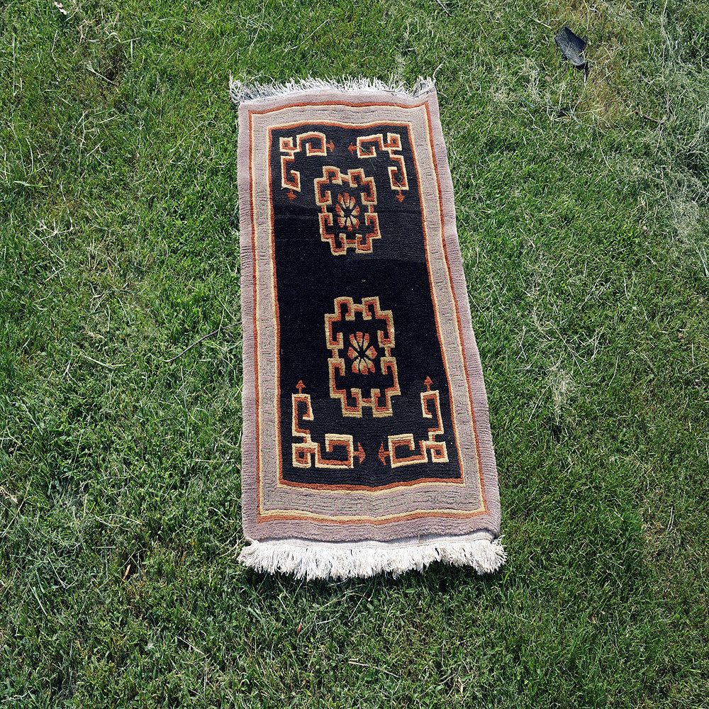 Antique buddhist Tibetan design square carpet for online sale handmade in nepal for wholesale price.