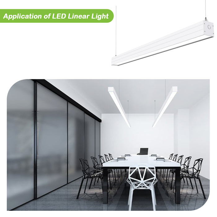 4FT 40W Linkable LED Architectural Linear Light For Office, 4600lm, 30K/40K/50K CCT Selectable, White Finish