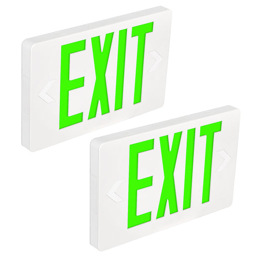 LED Exit Sign for Emergency, 100-277V, Universal Mounting, Double-side Green Letter with 90 Mins Battery Backup 2 Pack