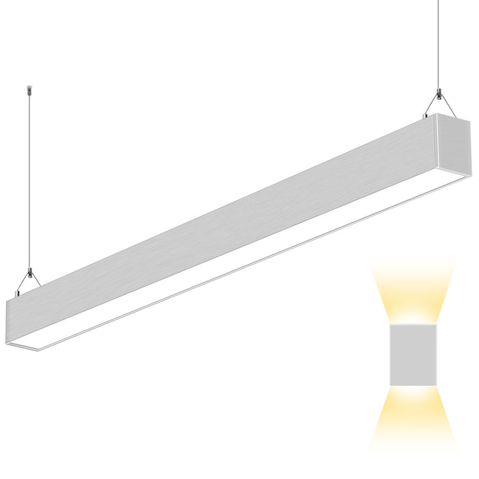 4FT 50W Indirect & Direct LED Architectural Linear Light For Office, 5500lm, 30K/40K/50K CCT Selectable, Silver Finish