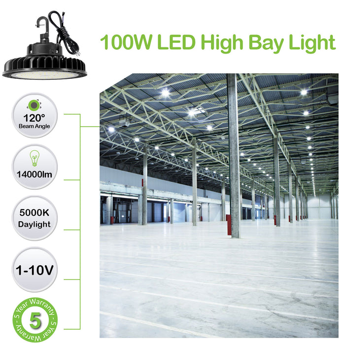 LED High Bay Light 100W 1-10V Dimmable 5000K 14,000lm UFO LED High Bay Light Fixture 5' Cable with US Plug [175W/250W MH/HPS Equiv.] Commercial Warehouse/Workshop/Wet Location Area Light