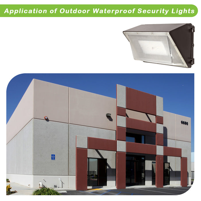 LED Wall Pack with Photocell, 120W 15000lm 5000K Daylight, DLC Complied