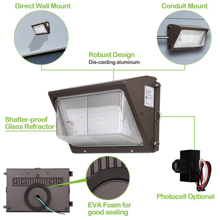 LED Wall Packl, 75W 9100lm 5000K Daylight, DLC Complied