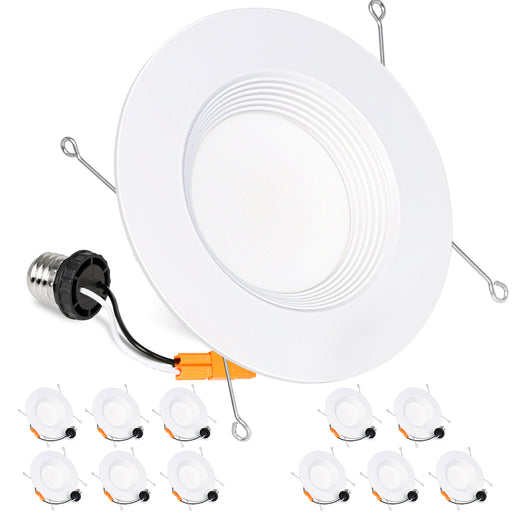5/6 in. Dimmable LED Recessed Lights, Retrofit Can Light, 15W, 1100lm, 3000K, CRI90, 12 Pack
