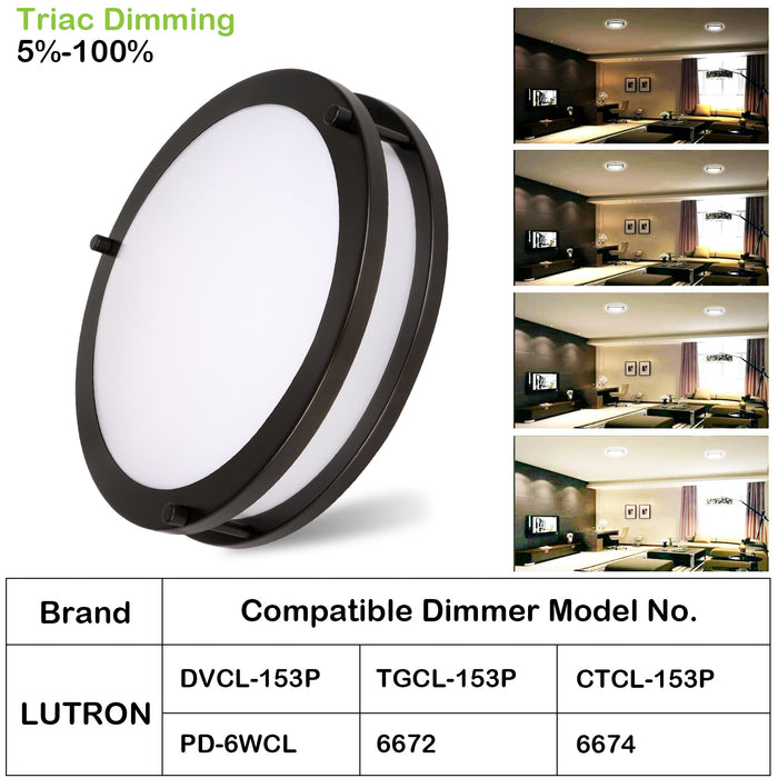 13 Inch LED Saturn Ceiling Light, 20W 1350lm 3000K/4000K/5000K, Dimmable, Oil Rubbed Bronze Finish, Flush Mount