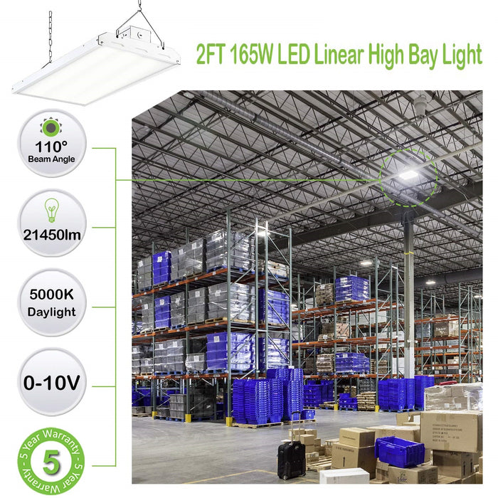 2 ft. 165W Linear LED High Bay Light Fixture, 21450 lm 5000K