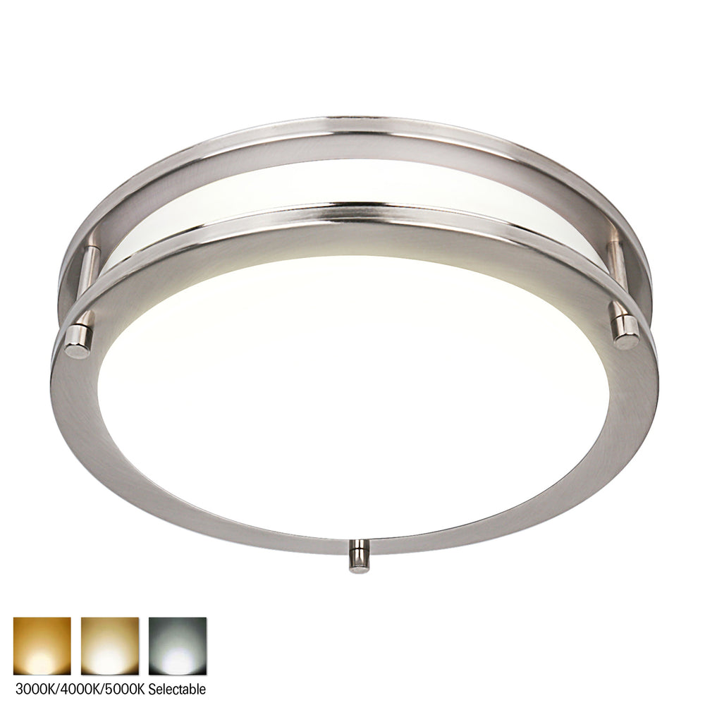 10 Inch LED Saturn Ceiling Light, 17W 1150lm, 3000k/4000K5000K, Dimmable, Brushed Nickel Finish, Flush Mount