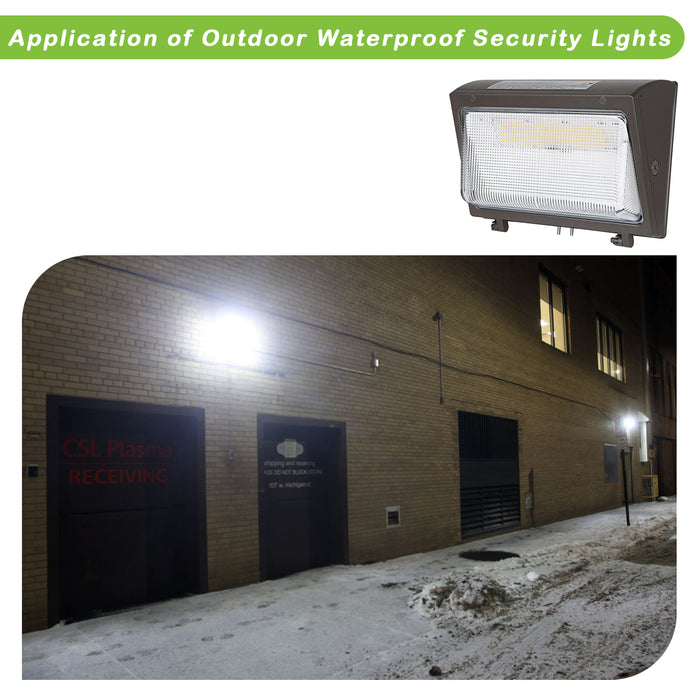 High-Output LED Wall Pack with Dusk-to-dawn Photocell,80W 10400lm 5000K Daylight,400W MH Equivalent, Outdoor Commercial LED Area Security Light,1-10V Dimmable